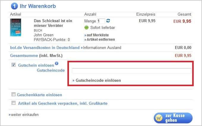 So lösen Sie Ihren Gutschein im Bol.de-Onlineshop ein